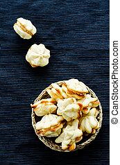 queijo, biscoitos, sable, creme