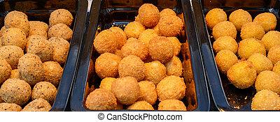 queijo, bolas, crispy, ruddy, temperos