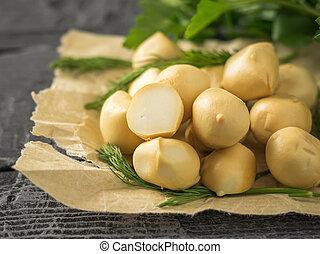 queijo, bolas, madeira, foco., ervas, seletivo, freshly, feito, tabela., mozzarella