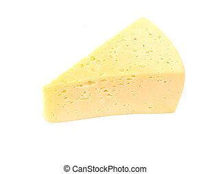 queijo, branca, pedaço, isolado