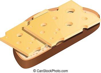 queijo, camada, sanduíche, saudável, saudável, difícil, isometric, ilustração, alimento., experiência., vetorial, magra, pão branco, dietético, estilo