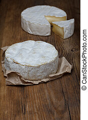 queijo camembert, ligado, antigas, tabela madeira