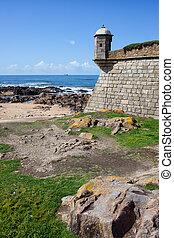 Queijo Castle and Atlantic Ocean Coast in Porto