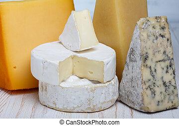 queijo, close-up, variedade