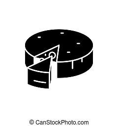 queijo, conceito, isolado, ilustração, sinal, experiência., vetorial, pretas, ícone, símbolo