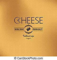 queijo, desenho, vindima, fundo, etiqueta