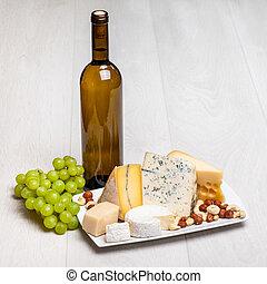 queijo, diferente, tipos, garrafa, vinho