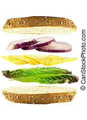 queijo, e, cebola, layered, sanduíche