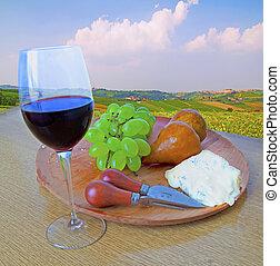 queijo, e, uva, e, vinho
