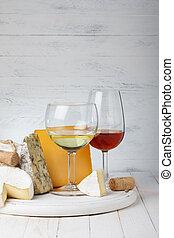 queijo, e, vinho, ligado, tabela madeira