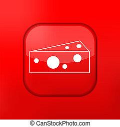 queijo, editar, eps10., vetorial, fácil, icon., vermelho