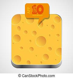 queijo, eps10, app, vetorial, laranja, ícone, bolha, speech.