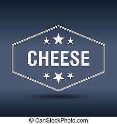 queijo, estilo, vindima, etiqueta, retro, hexagonal, branca