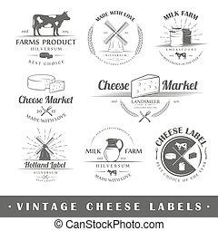 queijo, etiquetas, jogo, vindima
