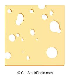 queijo, fatia, quadrado