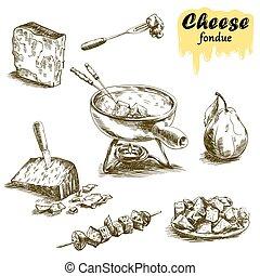 queijo, fondue, esboços