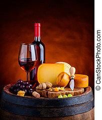 queijo,  gouda,  rosÈ, vinho