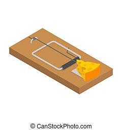 queijo, isolated., ilustração, roedor, vetorial, snare., trap., rato, ratoeira