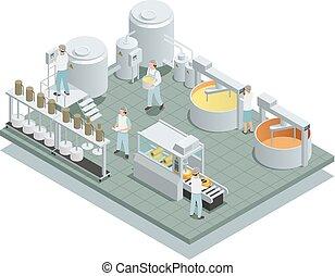 queijo, isometric, producao, fábrica, composição