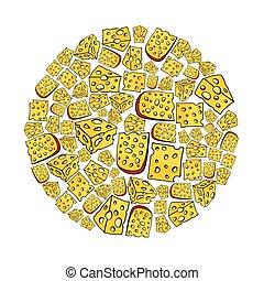 queijo, jogo, ícones, circle., objeto, etiquetas, isolado, ilustração, logotipos, experiência., vetorial, desenho, teia, branca, caricatura