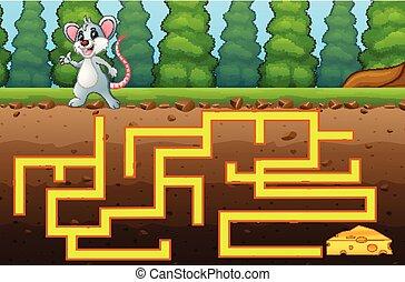 queijo, jogo, maneira, labirinto, rato, achar