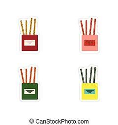 queijo, jogo, varas, papel, fundo, branca, adesivos