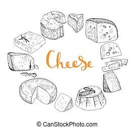 queijo, jogo, vindima, illustration.
