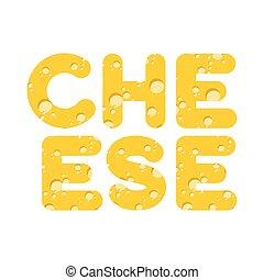 queijo, letras, ilustração, vetorial, amarela, cheese., texture.