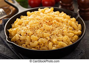 queijo, mac, panela, ferro, lançar