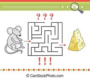 queijo, ou, labirinto, personagem, caricatura, jogo, vetorial, labirinto, rato, crianças