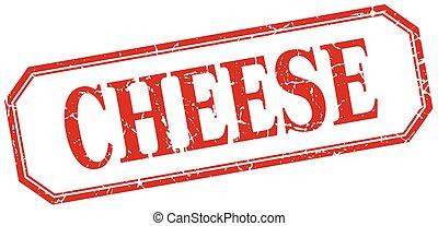 queijo, quadrado, grunge, vindima, isolado, etiqueta, vermelho