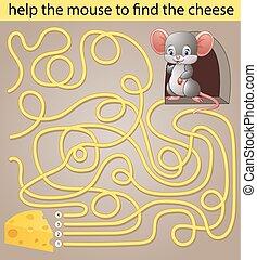 queijo, rato, ajuda, achar