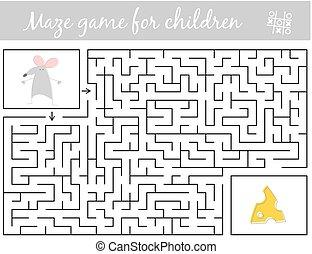 queijo, rato, caminho, achar, através, labirinto, ajuda, jogo, labyrinth.