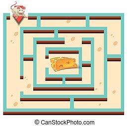 queijo, rato, modelo, labirinto