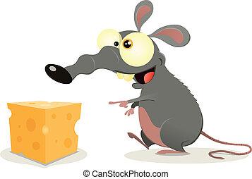 queijo, rato, pedaço, caricatura