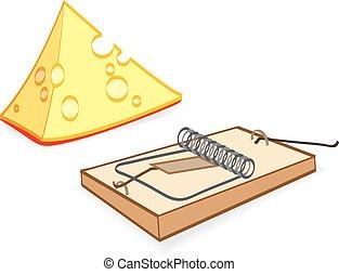 queijo, ratoeira, caricatura