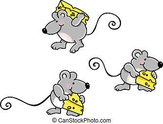 queijo, ratos, carregar