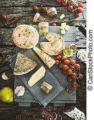 queijo, salame