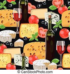 queijo, seamless, vinho
