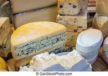queijo, shopping, variedade, mercado, exposição, queijo