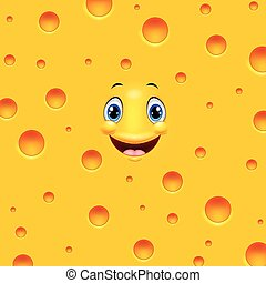 queijo, sorrindo, caricatura