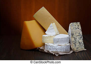queijo, sortimento, ligado, tabela madeira