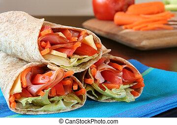 queijo, trigo, saudável, legumes, almoço, embrulhado, presunto, inteiro, tortilla.