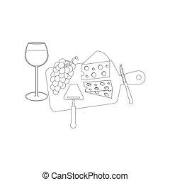 queijo, uvas, vinho