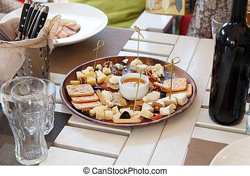 queijo, variedade, biscoito, mel, biscoitos, vinho tinto