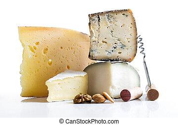 queijo, variedade, isolado, white.