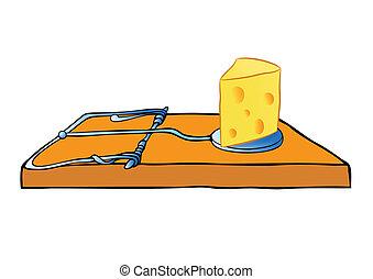 queijo, vetorial, -, armadilha, ratoeira