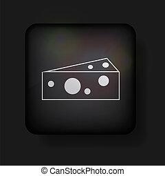 queijo, vetorial, eps10, ícone, black.