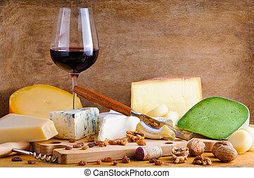 queijo, vinho, vermelho, prato copo