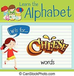 queijo, w, letra, flashcard